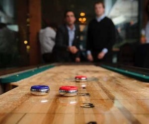 playing shuffleboard